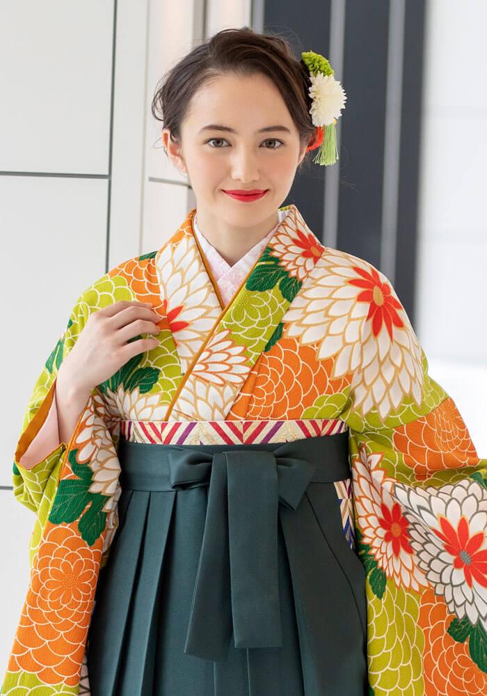 【着物】オレンジ×赤椿+【袴】コンシシュウ