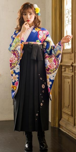 【着物】青白ぼかしに花鏡+【袴】クロ友ヤエザクラ