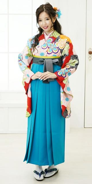 【着物】赤地にねじり梅とかのこ雲+【袴】サイレントブルー紐縞
